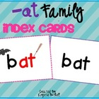 -at Word Family Word Work- Word Families Index Cards with