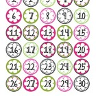 1-30 number labels (Bright Colors)