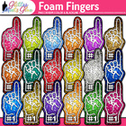 #1 Fan Foam Fingers Dipped in Glitter Clipart - Celebrate