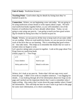 10 Minilessons - Nonfiction Writing Unit (Teacher's College) TC