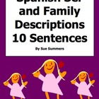 10 Spanish Adjectives Sentences With Family & Ser Worksheet