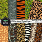10 Wild Animal Digital Paper Background Zebra Leopard Chee