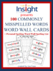 100 Commonly Misspelled Words -Word Wall Cards + Bonus