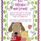 """""""100 Things We Love!"""" a Valentine/100th Day Writing Project"""