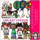100 days of school LINE ART bundle by melonheadz