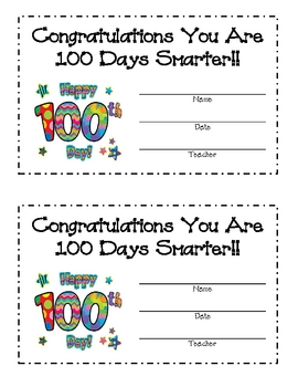 100th Day of School Award