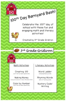 100th Day of School Barnyard Bash - Math and Literacy Activities