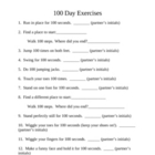 100th Day of School ~ One Hundred Exercises