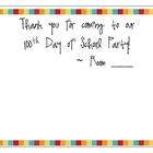 100th Day of School Thank You Note