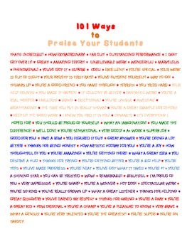 101 Ways to praise your students