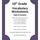 10th Grade Vocabulary Worksheets Sample