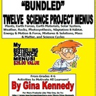 12 BUNDLED Science Project Menus, Differentation For the E