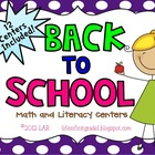 {12} Back to School Math and Literacy Centers