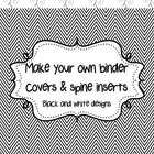 12 Black and white binder covers with spine labels (Editable)