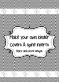 24 Black and white binder covers with spine labels (Editable)
