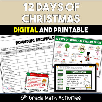 12 Days of Christmas Math Center Activities Pack - 5th Grade