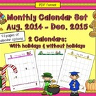 12 Month Calendar for Your Lesson Planning Binder:  2013-2