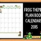 12 Month Calendar - Frog Themed - for Your Lesson Planning