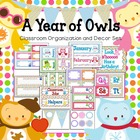 Seasonal Owls & Polka Dots Editable Classroom Organization
