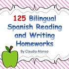 125 Kinder Bilingual Spanish Reading/Writing Homeworks