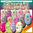 Clip Art: Polka Dot Eggs, Easter, Chicken, Duck, Goose, Bi