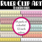 18 Colorful 12 inch Rulers Clip Art:  Graphics for Teachers