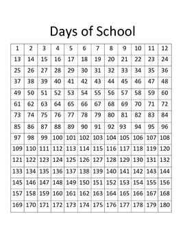 180 Days of School Chart