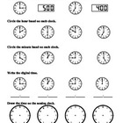 (1.MD.3) Time to the hour - 1st Grade Common Core Math Wor