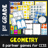 1st Grade Geometry Math Partner Games: 8 shapes & equal sh