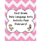 1st Grade Language Arts Worksheet Pack (February) {Common