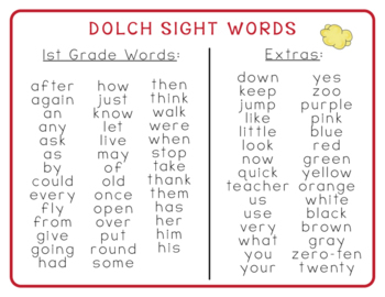 1st Grade Popcorn Word-Wall Words