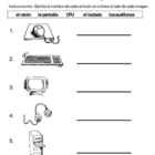 1st Grade Technology Terminolgy Worksheet Spanish