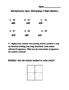 2-Digit Multiplication Quiz