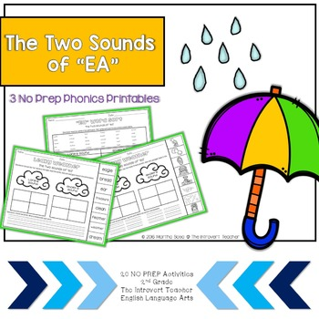"2 Sounds of ""ea"" Phonics Center: 2nd Grade Common Core"