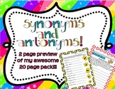 2 free pages from my synonym and antonym package!