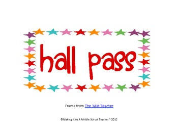 20 FREE Hall Pass Signs ~ Various Designs
