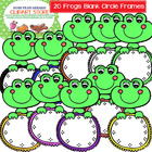 20 Frogs with Blank Circles Cliparts Frames for Personal a
