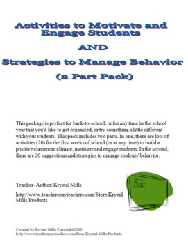 20 Ideas for Behavior Management PLUS 20 Activities to Eng