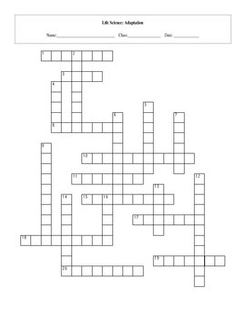 20 Key Term Adaptation Life Science Standards Based Crossword