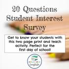 20 Questions Student Interest Survey