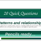 20 Quick Questions No. 4-   Number Patterns