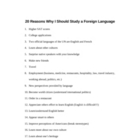 20 Reasons to Study a Foreign Language