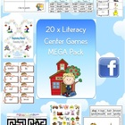 20 x Literacy Center Games MEGA Pack Reading & Spelling 133 pages