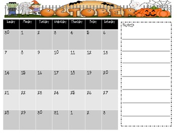 2012-2013 School Calendar with Notes Freebie!!