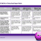 2012 Pick 4 Choice Book Report Rubric