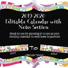 2013-2014 Editable Calendar with Notes Section