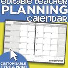 2013-2014 Editable Teacher Planning Calendar Template
