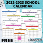 2013-2014 School Calendar Landscape {FREEBIE}