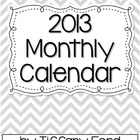 2013 Black and White Chevron Monthly Calendars - FREE
