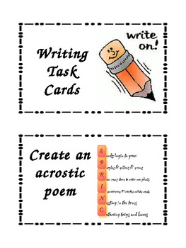21 Writing Center Task Cards